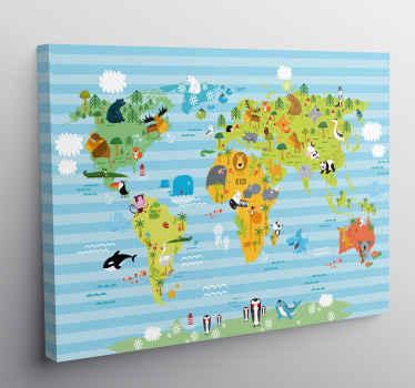 Bir alanı süslemek için hayvan tasarımlı dünya haritası ile çok güzel ve olağanüstü bir coğrafi tuval sanatı. Dayanıklıdır ve duvara asılması kolaydır.