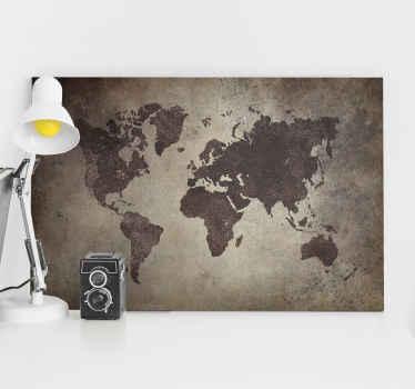 Son yıllarda, eski dünyanın harita tuvali vintage trendlerin başında geliyor. Vintage bir dünya haritası tuvaliyle evde ayık bir ortam oluşturun.