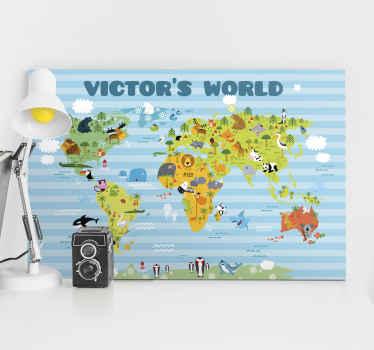 Med et par klik kan du oprette et personligt lærred på verdenskortet. Opret et unikt kort, der ligner dig og klæd dine vægge til dine farver.