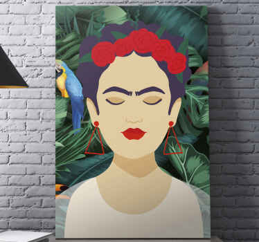 Frida animal character canvas prints - A lovely character portrait canvas art for lovers of this Frida's personality. It is original and durable.