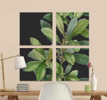 Impression sur toile plante verte fond noir - une belle toile d'art végétal pour les amateurs de personnaliser leur espace avec décoration végétale.