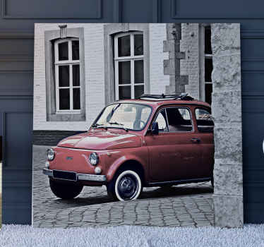 Vintage old fiat 500 retro canvas art - A real photo image of an old building space with a vintage car parked in it front.