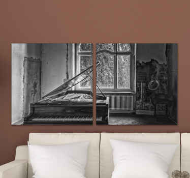 A realistic retro photo canvas for home and other place decoration. The design on the canvas depicts an old room with piano music instrument.