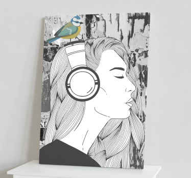 Lovely people canvas print hosting the design of a woman enjoying music from her headphone. It is created in a hand drawing textural effect.
