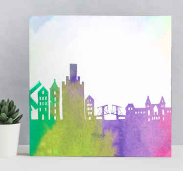 Farverige amsterdam skyline city lærredstryk - du ville helt sikkert elske dette cityscape lærredstryk på dit rum, det er originalt og holdbart.