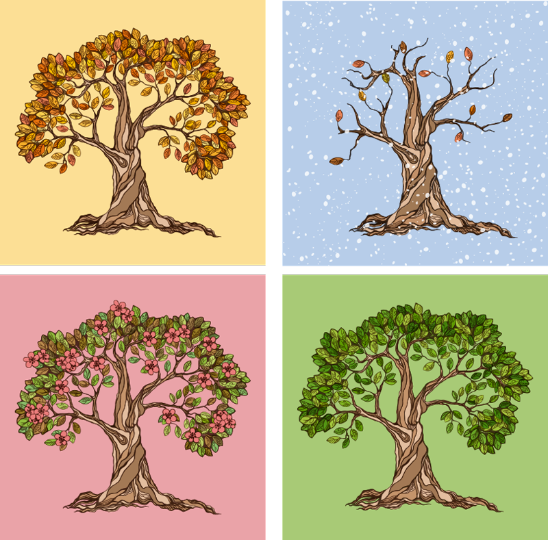 TenStickers. Tree of four seasons modern art prints on canvas. a wonderful four seasons canvas wall art with tree illustrations of every season of this year to decorate any room in your house.