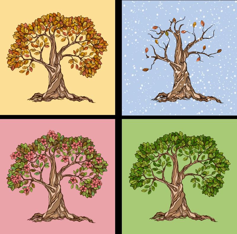 TenStickers. 캔버스에 사계절 현대 미술 인쇄의 나무. 올해의 모든 계절의 나무 삽화와 함께 멋진 사계절 캔버스 벽 예술로 집안의 모든 방을 장식합니다.