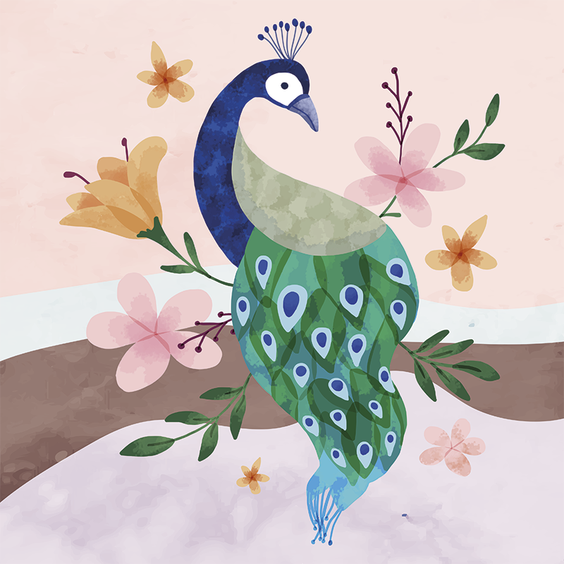 TenStickers. Peacock with flowers  feather canvas. A beautiful and elegant peacock and flowers canvas wall art to decorate any space in your house. High quality product delivered to your house.