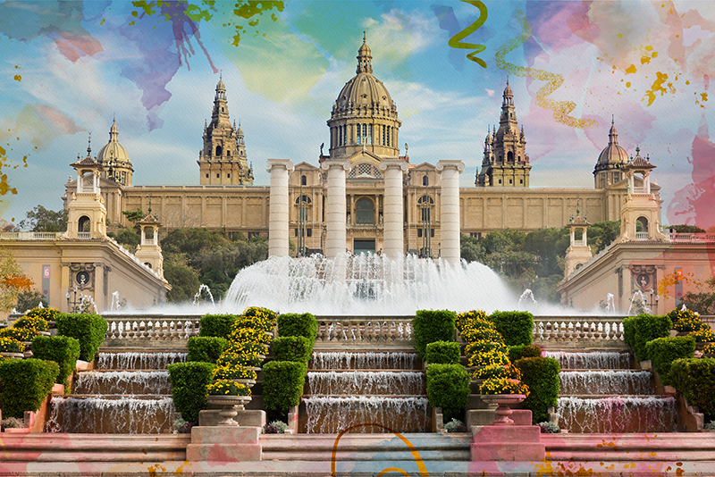 TenStickers. Barcelona Montjuic City skyline prints. Beautiful decorations makes beautiful and comfortable homes. With our top quality home canvas printed with picture of Barcelona Montjuic city.
