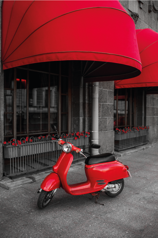 TenStickers. Parked red motor Italian scooter City skyline prints. Realistic parked red Italian scooter canvas. The design illustrates a scooted packed in front of a building.  Printed with high quality finish.
