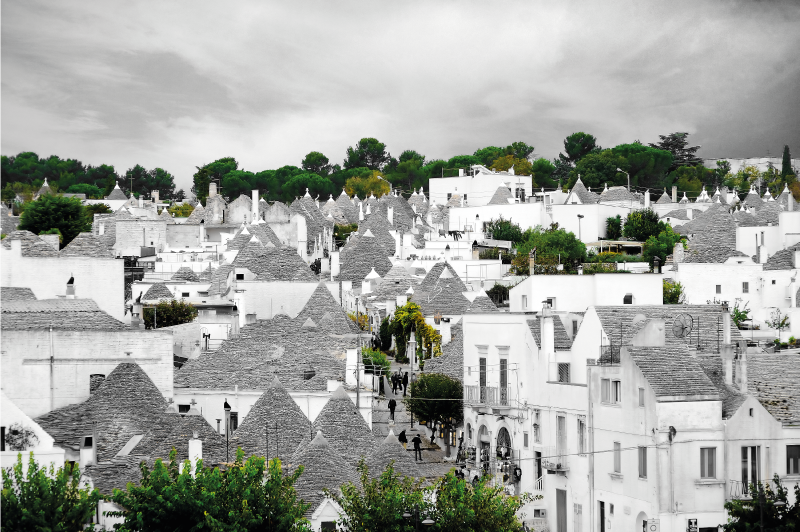 TenStickers. Alberobello trulli City skyline prints. You can purchase our amazing Alberobello trulli city home canvas prints with design of it houses in the composition that fit best with your space.