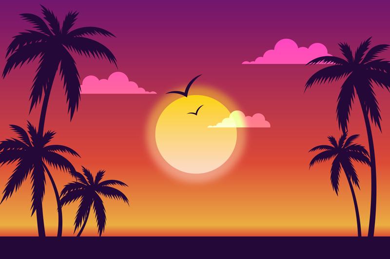 TenStickers. 70's solnedgang landskab væg kunst. 70'ers solnedgang landskab lærred til boligindretning. Lærredet kan også dekoreres på et kontor, gæsteplads osv. Lærredet er holdbart og originalt.