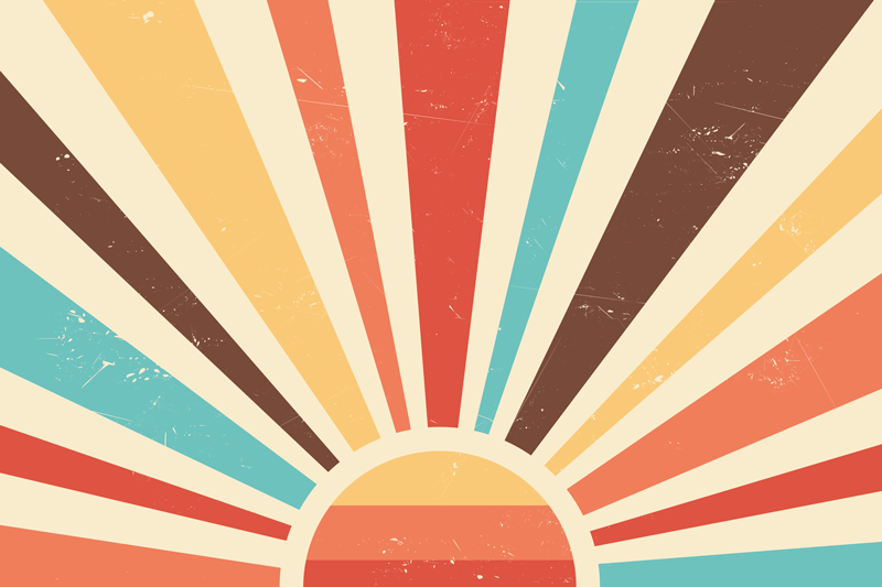 TenStickers. 추상 빈티지 일몰 70 년대 캔버스 벽 예술. 다양한 컬러 라인의 태양 굴절을 보여주는 디자인으로 아름다운 풍경 캔버스 벽 예술. 가정, 사무실, 상점 등에 적합한 캔버스