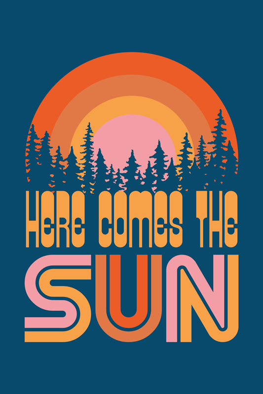 TenStickers. Vintage Sun Music canvas wall art. Vintage sun music canvas art for your home and office space decoration. A design illustrating sunset on forest landscape with inscribed text.