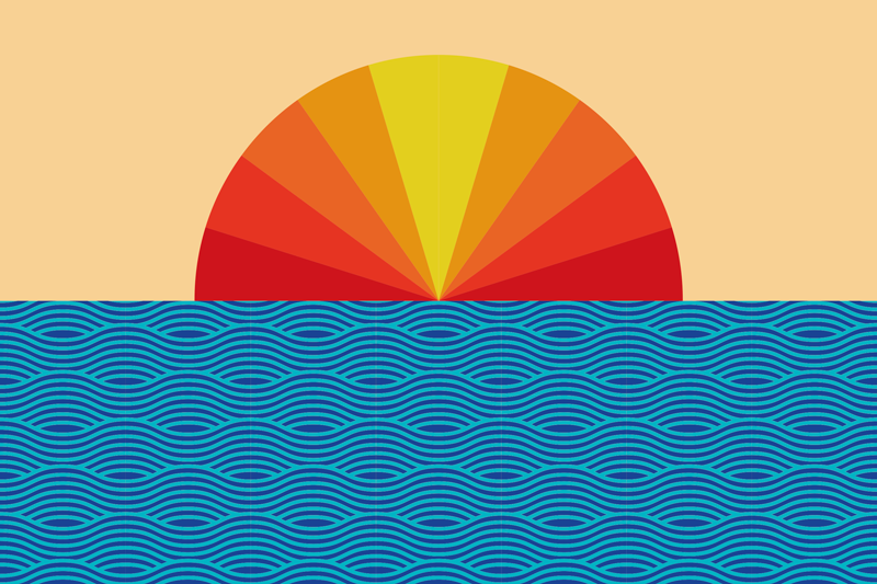 TenStickers. Vintage Sunset 70's canvas wall art. Vintage sunset 70's canvas prints with landscape illustration design of sun's refraction colours with sea wave. Original, durable and light weight.