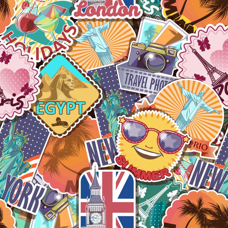 TenStickers. Utazási tervezés vászon vintage fali nyomatok. A legszebb úti célok képviseltetik magukat ezen a retro vászonművészeten, amely nagy figyelmet fog vonzani a falatokra! Házhozszállítás!