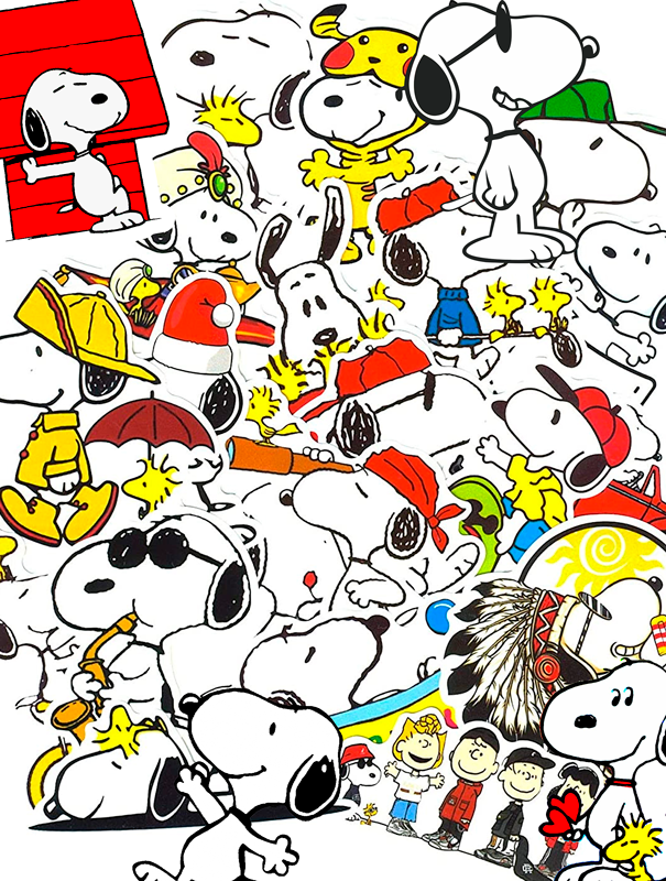 TenStickers. Snoopy Character wall pictures for nursery. Kids canvas print which features the famous cartoon dog Snoopy doing various activities and in various positions. High quality.