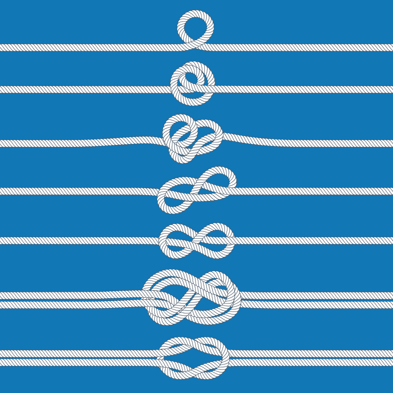 TenStickers. Sailor Knot Tutorial Nautical canvas wall art. Nautical wall art canvas which features instructions along 7 different lines of rope of how to tie a sailor knot. High quality.