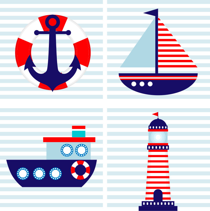 TenStickers. Children's Nautical canvas wall art. Nautical canvas print which features four unique images to do with the sea. +10,000 satisfied customers. High quality materials.
