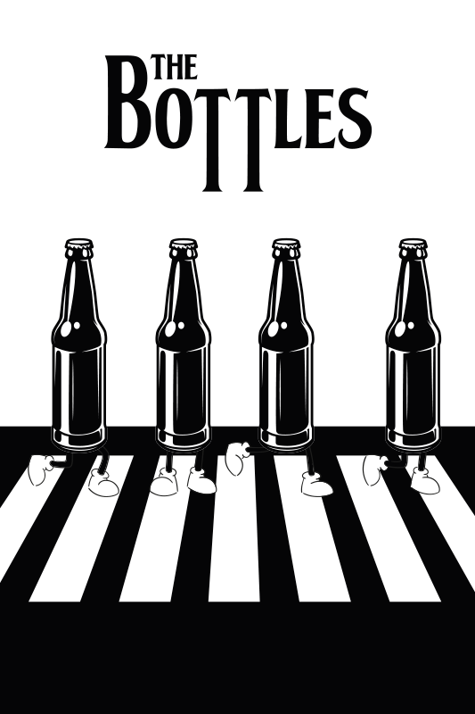 TenStickers. A palackok zene vászon fal művészet. Ezzel a palackok fekete-fehér gyalogos átjárón történő nyomtatásával egyedi stílust kölcsönöz szobájának! Házhozszállítás!