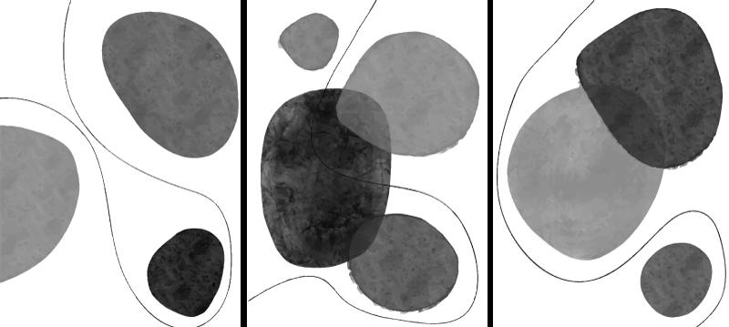 TenStickers. 회색조 추상 북유럽 캔버스 아트. 선으로 둘러싸인 회색조 추상 모양의 패턴이 특징 인 북유럽 캔버스 인쇄. 10 % 할인을 신청하십시오. 고품질.