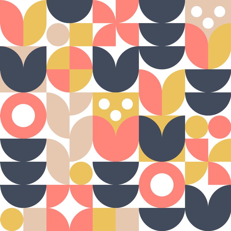 TenStickers. γεωμετρική σκανδιναβική τέχνη καμβά. γεωμετρική εκτύπωση καμβά που διαθέτει ένα εντυπωσιακό αφηρημένο σχέδιο μοναδικών σχημάτων, όπως κύκλους, ημι κύκλους και τετράγωνα.
