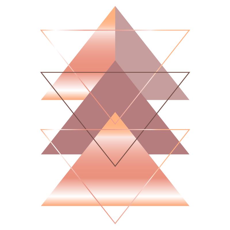 TenVinilo. Cuadros estilo nórdico triángulos elegantes. Cuadro estilo nórdico de triángulos estilo rosado para que decores tu casa de forma elegante y original ¡Descuentos disponibles!