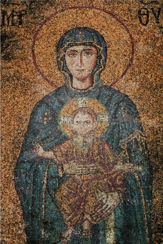 TenStickers. Ancient byzantine photo mosaic canvas. Ancient byzantine mosaic canvas prints to decorate your home. This detail and feature of the design on the canvas depicts an original retro prints.