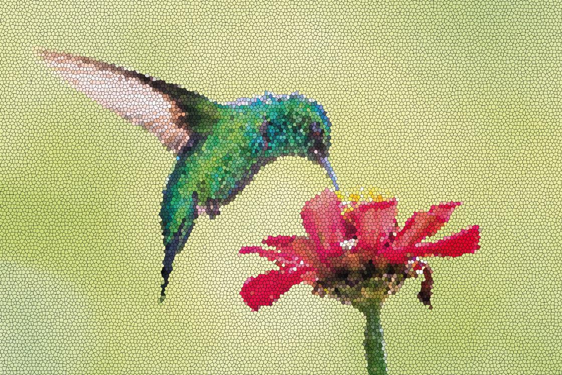 TenStickers. Canvas schilderen Mozaïek kolibrie op bloem . Als u de look van uw ruimte wilt vernieuwen, zijn onze kleurrijke vogels mozaïek canvas  schilderijen een geweldig idee voor een transformerende look.