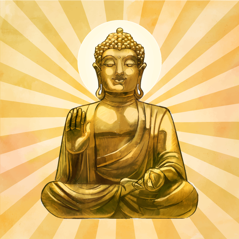 TenStickers. Golden buddha wall canvas. Golden buddha canvas wall art for spiritual mind and enthusiast of buddha meditation.  It is printed with high quality finish.