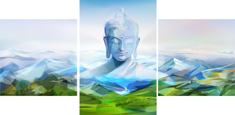 TenStickers. buda grande buddha wall canvas. Lovely decorative Buda Grande buddha wall art to decorate your home with the spirit and aura of Buda mediation. Printed with quality finish.