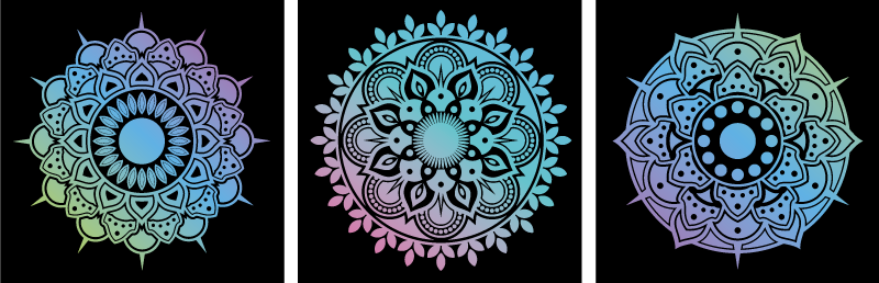TenStickers. Floral mandalas print wall art. Floral mandalas canvas wall art to beautify a living room. This also suit to enhance an office space and for bathroom and other spaces of interest.