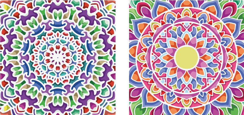 TenStickers. разноцветная мандала печать настенное искусство. Печать на холсте мандалы с двумя уникальными отпечатками на холсте, каждый из которых украшен красивым ярким узором. высокого качества.