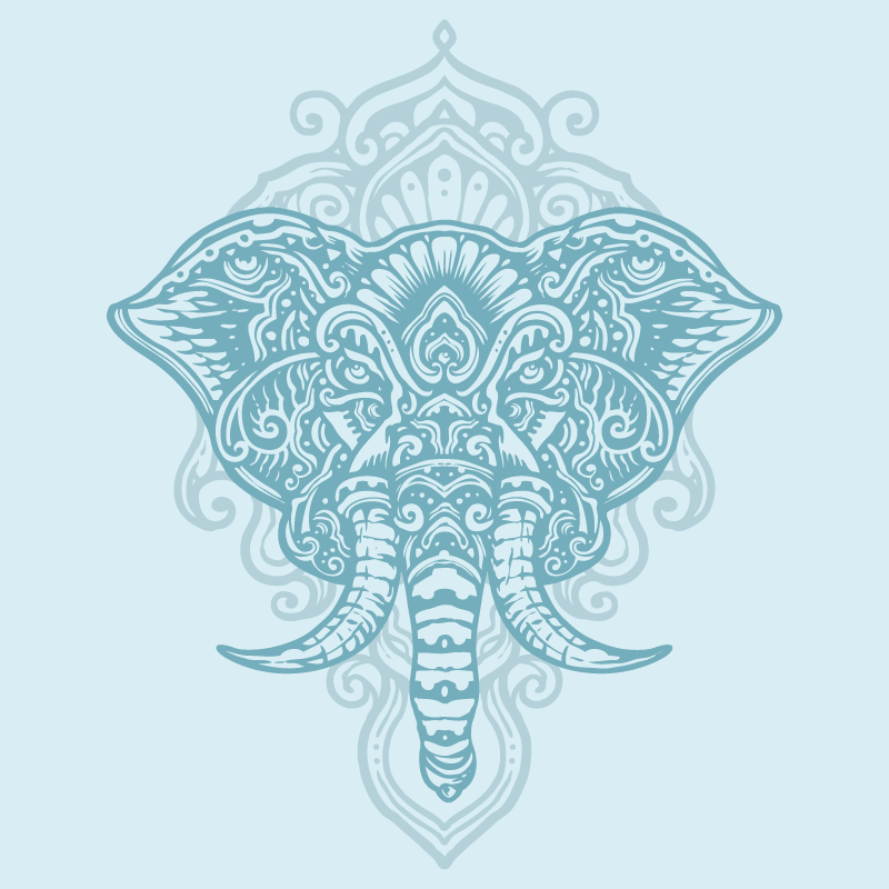 TenStickers. Elephant mandala print wall art. Mandala canvas print which features a beautiful image of an elephant decorated with a floral, mandala design. Discounts available.