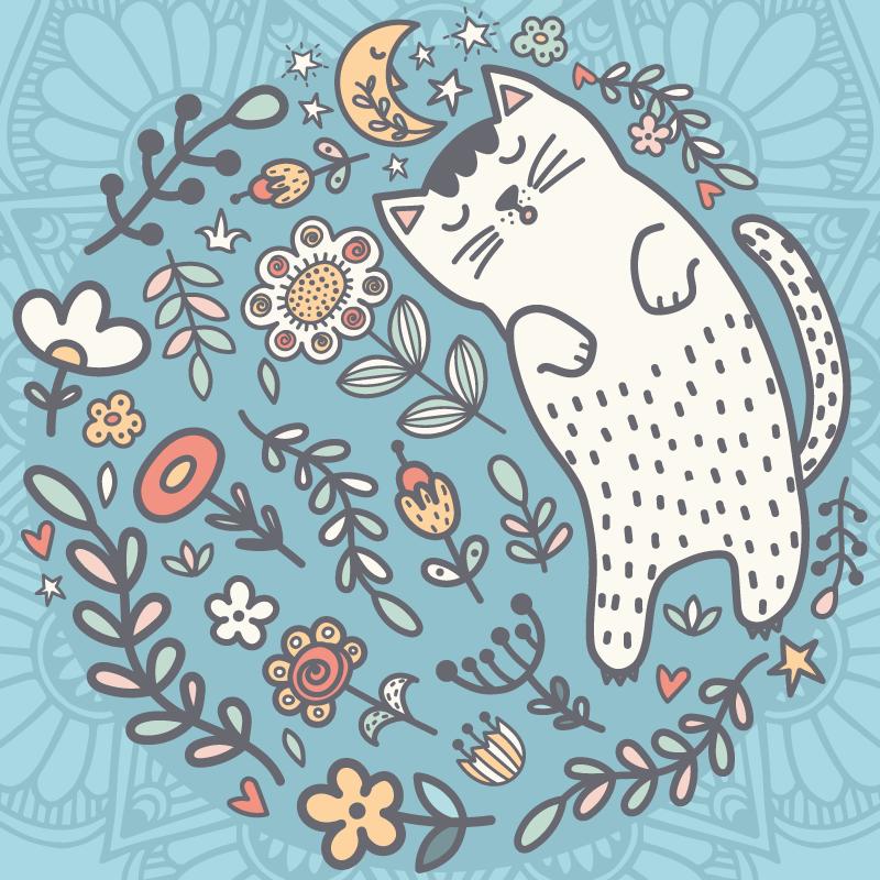 TenStickers. Imádnivaló macska mandala nyomtatott fal művészet. óvodai vászonkép, amelyen csodálatos virág- és levélkör és egy nagy macska alszik. Világszerte történő szállítás.