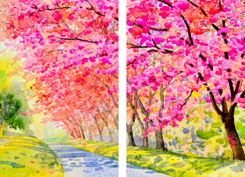 TenStickers. Cherry Blossom Path landscape wall art. Landscape canvas print which  features an image of a path through a park surrounded by stunning cherry blossom trees. +10,000 satisfied customers.