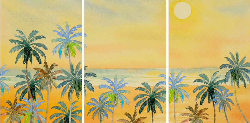 TenStickers. Beautiful scenery landscape canvas wall art. Beautiful scenery landscape canvas wall art. The canvas design is an illustration of a beautiful sea view with beach palms trees and sunset.