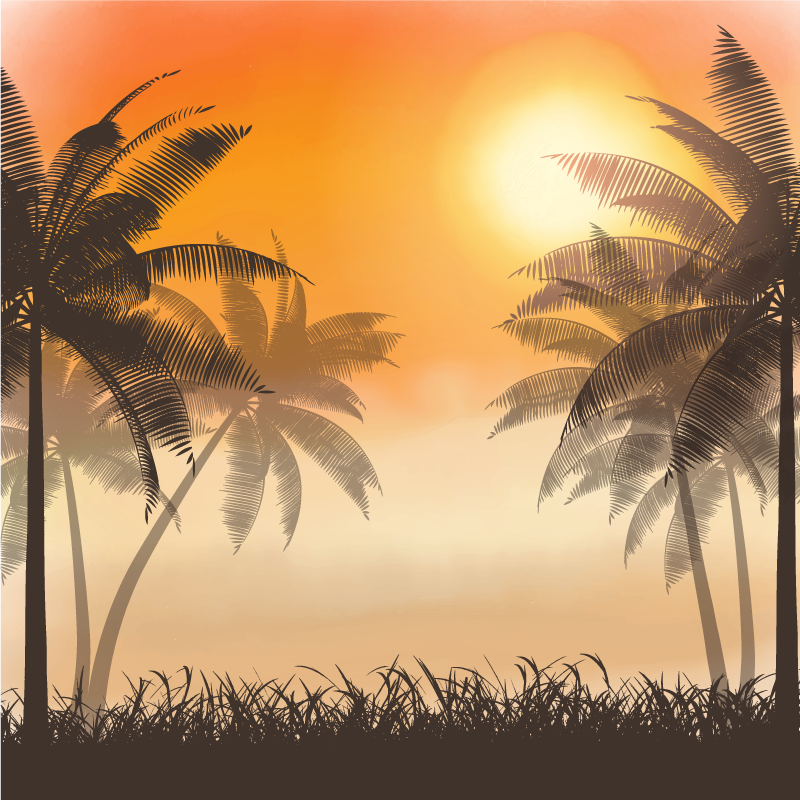 TenStickers. Sunset landscape canvas wall art. A soothing palm tree with sunset landscape canvas wall art. This is a lovely canvas design for living room, office and other space of preference.