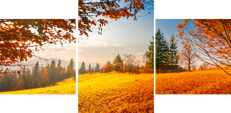 TenStickers. Autumn landscape canvas wall art. A beautiful landscape canvas print illustrating autumn. The composition of the autumn landscape is printed on three canvases for detailed expression.