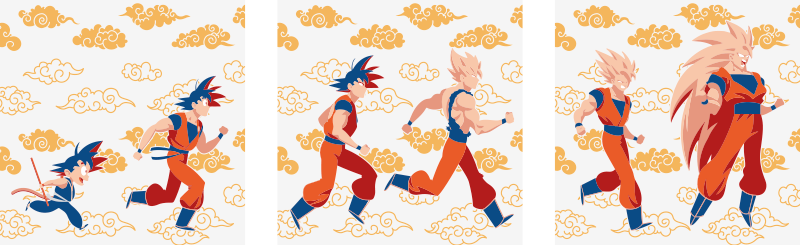 TenStickers. Superhéroes Dragon Ball superhero framed wall art. Canvas print with Dragon Ball. It is made of high quality materials. The pattern shows different characters featuring in the show.