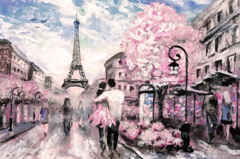 TenStickers. Personas parejas en París people and character canvas prints. This  Paris canvas wall art is for you! It offers an incredible view over a part of this magnificent city while highlighting the Eiffel Tower