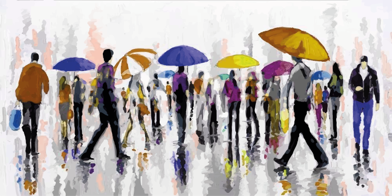 TenStickers. People in the rain canvas prints. Canvas print with people in rain. The pattern shows a crowd with colorful umbrellas. Made of high quality materials. Check it out!