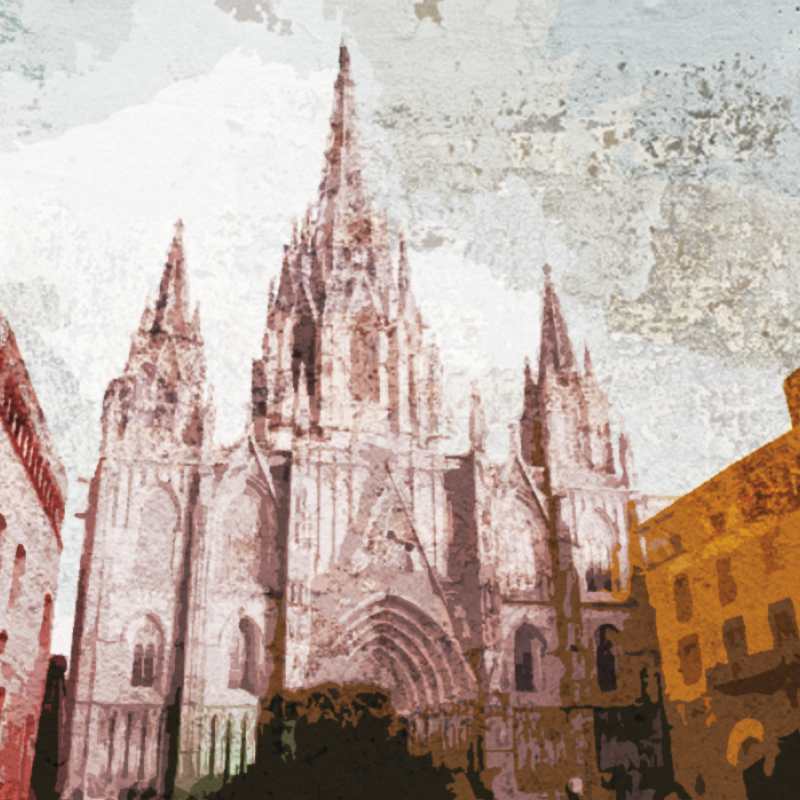 TenStickers. Personas catedral Barcelona people and character canvas prints. tOrder now tis canvas of the incredible city of barcelona with its famous cathedral which will make all your guests incredibly envious