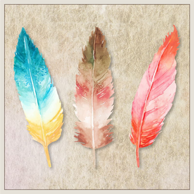 TenStickers. plumas pintadas de acuarela canvas. An awesome modern looking watercolour feather canvas wall print that you will love. Discounts available when you sign up today.