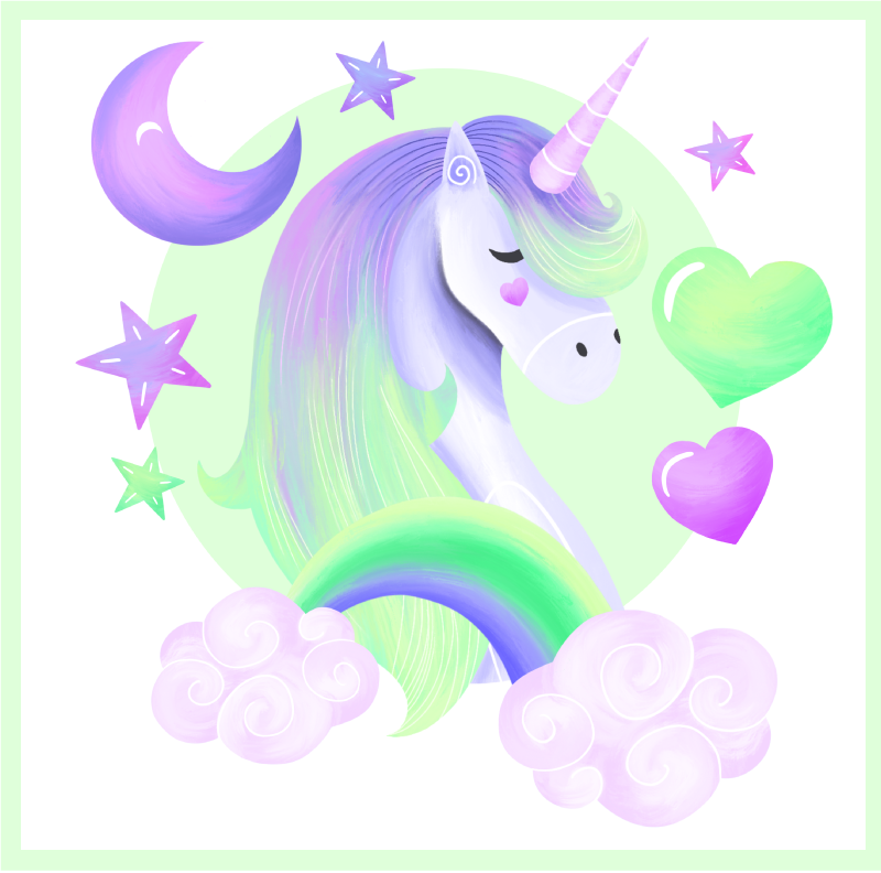 TenStickers. Heart and rainbow unicorn canvas wall art. How happy your kid would be having this heart and rainbow unicorn canvas wall print been decorated in the bedroom. It is original and durable.