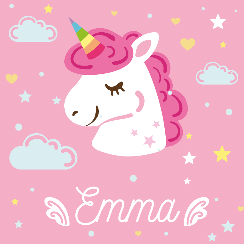 TenStickers. Pink unicorns with name unicorn canvas wall art. Cute animal canvas art ideal for children.  Contains design illustrating the head of a unicorn with stars, clouds and heart shapes with pink background
