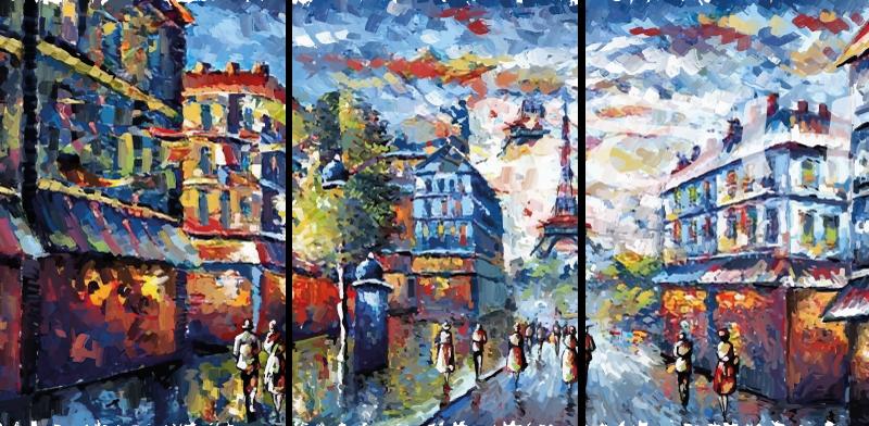 TenStickers. Umetnost platna v pariški boemski umetnosti, akvarel. Lepo boemsko slikarsko platno pariske ilustracije mesta. Platnena umetniška slika ponazarja mejnik eifelovega stolpa z mestno pokrajino v parizu.