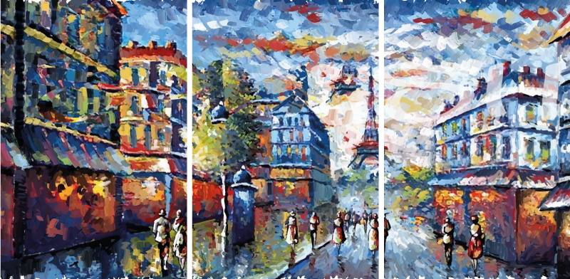 TenStickers. Παρίσι μποέμ τέχνης ακουαρέλα στυλ καμβά τέχνης. όμορφη μποέμ ζωγραφική καμβά της πόλης Παρίσι εικονογράφηση. Η ζωγραφική τέχνης σε καμβά απεικονίζει το ορόσημο του πύργου του Άιφελ με το αστικό τοπίο του Παρισιού.