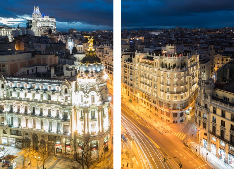 TenStickers. Canvas schilderen Madrid in de nacht . Stadsliefhebbers zullen dol zijn op deze Madrid stad canvas schilderij, perfect voor elk huis! Kortingen beschikbaar wanneer u zich aanmeldt op uw website.