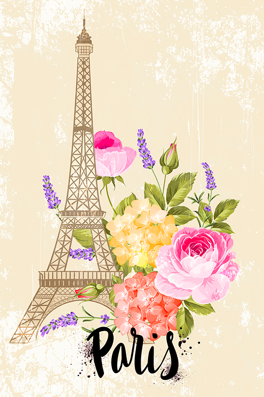 TenStickers. Eiffel Tower cities in spring city skyline prints. France city landmark canvas wall art illustrating the Eiffel tower along with beautiful sparing flower bouquet. It is printed with quality finish.